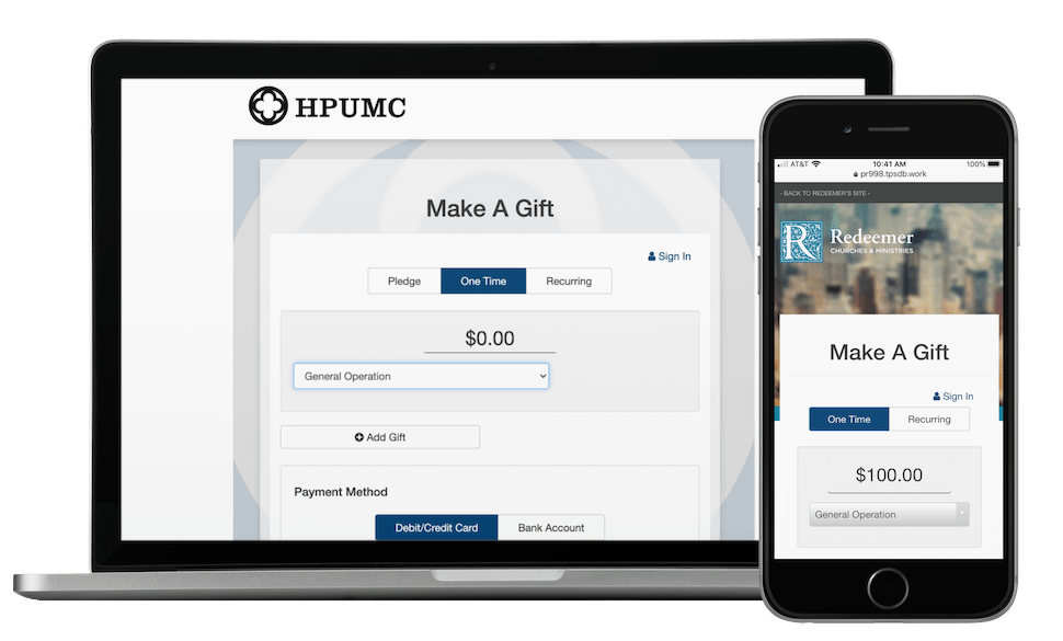 Fund your mission with customizable giving pages.